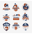 american football rugcolor emblems set vector image