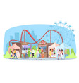 amusement park flat roller coaster ferris wheel vector image