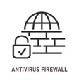 antivirus firewall line icon on white background vector image vector image
