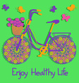 Background with colorful eco bicycle vector image