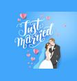 blue backdrop bride and groom vector image vector image
