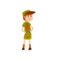 boy scout character in green uniform vector image vector image