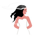 bride cute with her dress or color vector image vector image