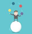 businessman balancing on ball vector image vector image