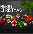 christmas black background with elements vector image vector image