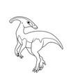 coloring book parasaurolophus dinosaur vector image vector image