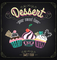 cupcakes dessert chalking freehand drawing vector image