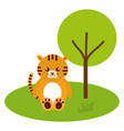cute and tender tiger in the jungle character vector image vector image