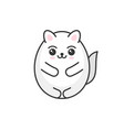 cute cartoon kawaii white cat on light background vector image vector image