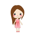 Cute Girl in Pink Dress vector image