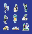 cute zombie isolated sticker collection vector image