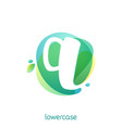 ecology lowercase letter q logo overlapping vector image vector image