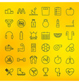 Fitness and Dieting Line Big Icons Set vector image vector image
