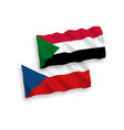 flags czech republic and sudan on a white vector image vector image