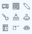 gastronomy icons line style set with cezve apron vector image vector image