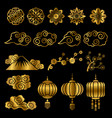 golden japanese and chinese asian motif vector image vector image