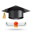 Graduation Cap and Diploma Scroll vector image vector image
