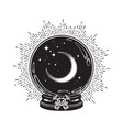 hand drawn magic crystal ball with crescent moon vector image vector image