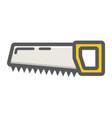 hand saw filled outline icon build and repair vector image vector image