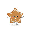happy gingerbread christmas star vector image