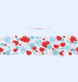 hearts and ribbon bows seamless border pattern vector image