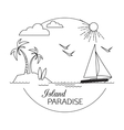 Island Paradise Beach and water travel and vector image vector image