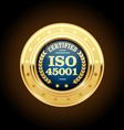 ISO 45001 standard medal - health and safety vector image vector image