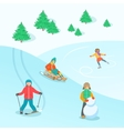 Kids play outdoor winter games background