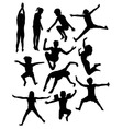 kids playing in pool silhouettes vector image