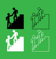 man helping climb other man icon black and white vector image vector image