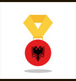 medal with the albania flag isolated on white vector image vector image