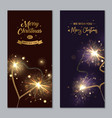 merry christmas banners with sparklers heart vector image vector image