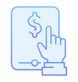 money symbol on tablet flat icon dollar on tablet vector image vector image