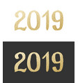 new year 2019 golden text with bright confetti vector image vector image