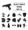 paintball set icons in black style big collection vector image vector image