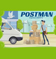 postman and parcel near post office mail delivery vector image vector image