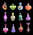potion bottles icons elixir in glass flasks vector image