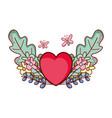 red heart love butterflies flowers cartoon vector image