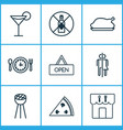 restaurant icons set with alcohol forbid wc bbq vector image vector image