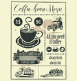retro banner with a cup of coffee and vintage cars vector image vector image
