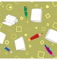 School notes seamless pattern on khaki background vector image vector image