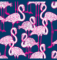 seamless background of pink cartoon flamingos vector image vector image