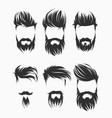 set men hairstyle with beard mustache vector image vector image