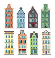 set of 8 amsterdam old houses cartoon facades vector image