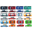 Set of cars and trucks in many colors vector image vector image