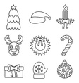 Set of Christmas icons outline Isolated vector image vector image