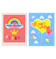 set posters happy birthday little princess vector image vector image