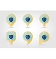 Strawberry mapping pins icons vector image vector image