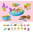 sweet candy icon set composition vector image vector image
