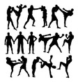 Thai Boxing Sport Silhouettes vector image vector image